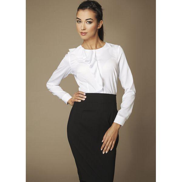 Bardzo dobra Biała Elegancka Koszula z Falbanką - Białe koszule damskie marki JI88