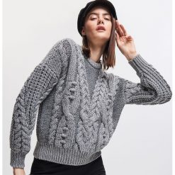 Gruby sweter - Srebrny. Szare swetry damskie Reserved. Za 159.99 zł.