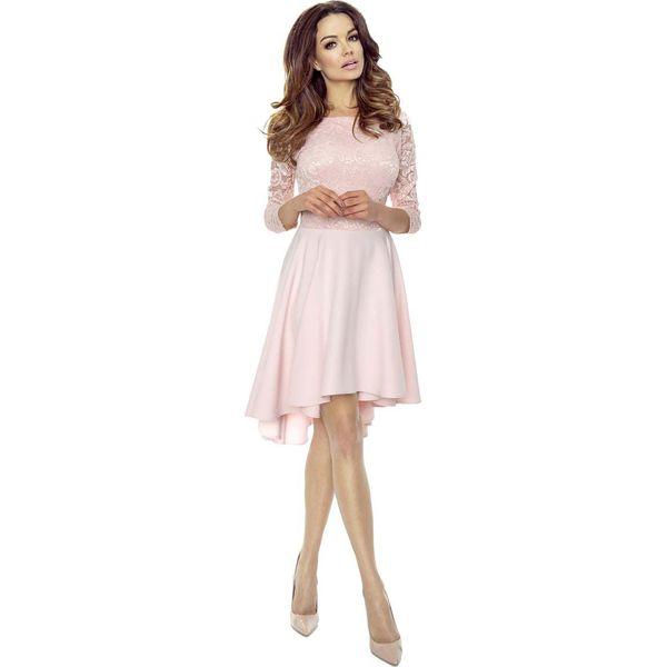 ef619f433fde8 Jasno Różowa Sukienka Rozkloszowana Asymetryczna z Koronkową Górą ...