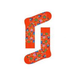 Skarpetki Happy Socks - Holiday XMAS (BAU01-4000). Pomarańczowe skarpety męskie Happy Socks, w kolorowe wzory, z bawełny. Za 34.90 zł.