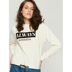 Bluza z nadrukiem - Kremowy. Białe bluzy damskie Sinsay, z nadrukiem. Za 49.99 zł.