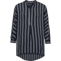 Długa  bluzka bonprix czarno-biały w paski. Białe bluzki damskie bonprix, w paski, z asymetrycznym kołnierzem, z długim rękawem. Za 99.99 zł.