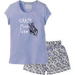 Piżama z krótkimi spodenkami bonprix lawenda - czarno-biały z nadrukiem. Białe piżamy damskie bonprix, z nadrukiem, z krótkim rękawem. Za 44.99 zł.