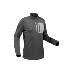Koszulka turystyczna długi rękaw SH500 warm męska. Szare bluzki z długim rękawem męskie QUECHUA, z tkaniny. Za 79.99 zł.