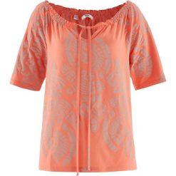 Tunika shirtowa, krótki rękaw bonprix łososiowy z nadrukiem. Tuniki damskie marki bonprix. Za 27.99 zł.