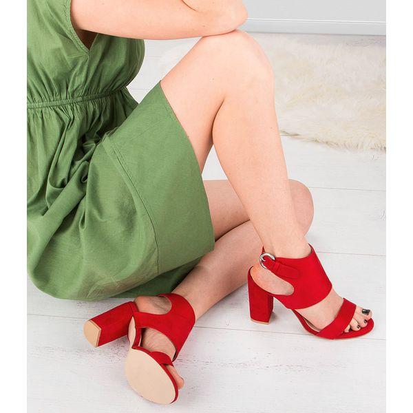Botki Laura Mode z tkaniny czerwone