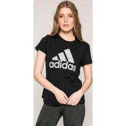 Adidas Performance - Top. Szare topy damskie adidas Performance, z nadrukiem, z bawełny, z okrągłym kołnierzem, z krótkim rękawem. W wyprzedaży za 79.90 zł.
