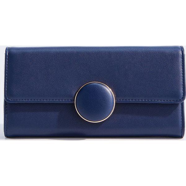 bbac798c882a8 Duży portfel z ozdobnym zapięciem - Granatowy - Portfele damskie ...