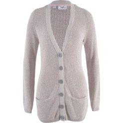 Sweter rozpinany z kieszeniami bonprix jasnoszary - pastelowy jasnoróżowy melanż. Czerwone kardigany damskie bonprix, melanż. Za 74.99 zł.