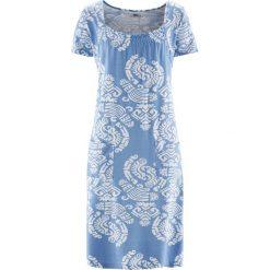 Sukienka shirtowa, krótki rękaw bonprix perłowy niebieski z nadrukiem. Niebieskie sukienki damskie bonprix, z nadrukiem, z krótkim rękawem. Za 89.99 zł.