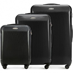 Zestaw walizek 56-3P-97S-10. Czarne walizki damskie Wittchen, z gumy. Za 597.00 zł.