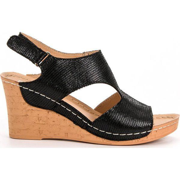 Sandały Filippo 468S Czarne Wyt. , Sandały na koturnie