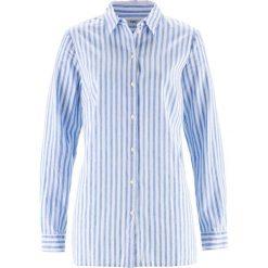 Bluzka z materiału z lnem bonprix niebiesko-biały w paski. Niebieskie bluzki damskie bonprix, w paski. Za 44.99 zł.