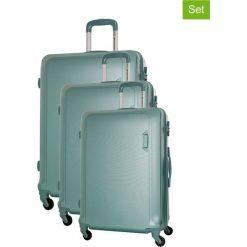 Zestaw walizek w kolorze miętowym - 3 szt. Walizki męskie Platinium, z materiału. W wyprzedaży za 579.95 zł.