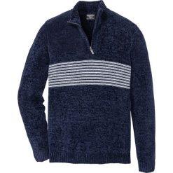 Sweter z szenili Regular Fit bonprix ciemnoniebieski. Niebieskie swetry przez głowę męskie bonprix. Za 129.99 zł.
