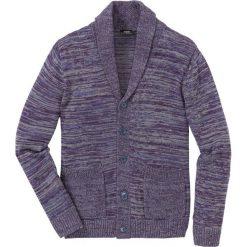 Sweter rozpinany melanżowy z szalowym kołnierzem Regular Fit bonprix szaro-ciemnoniebiesko-jeżynowy melanż. Kardigany męskie marki bonprix. Za 109.99 zł.