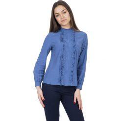 Niebieska bluza z długim rękawem oraz falbaną na przodzie  BIALCON. Niebieskie bluzy damskie BIALCON. Za 98.00 zł.
