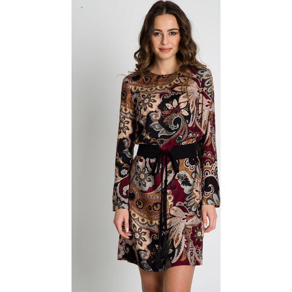 90e022067e Wzorzysta sukienka z paskiem BIALCON - Sukienki damskie marki ...