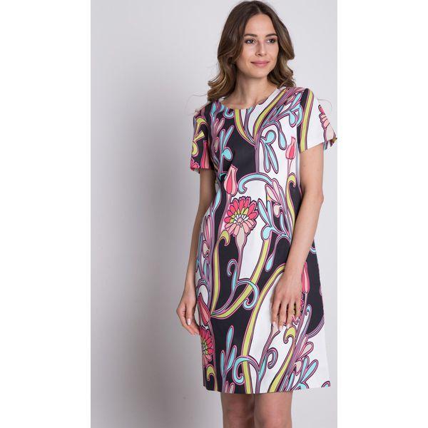 cd02037937 Trapezowa sukienka we wzory z krótkim rękawem BIALCON - Sukienki ...