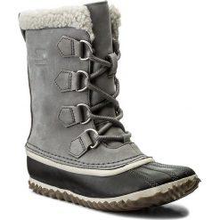 Śniegowce SOREL - Caribou Slim NL2649 Quarry 052. Szare śniegowce i trapery damskie Sorel, z gumy. W wyprzedaży za 339.00 zł.