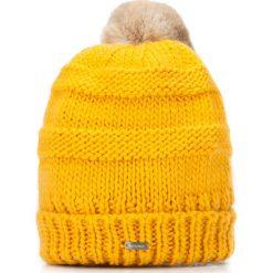 Czapka damska 87-HF-200-Y. Brązowe czapki i kapelusze damskie Wittchen, z dzianiny. Za 119.00 zł.