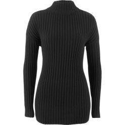 Sweter bawełniany ze stójką bonprix czarny. Czarne swetry damskie bonprix, z bawełny, ze stójką. Za 69.99 zł.