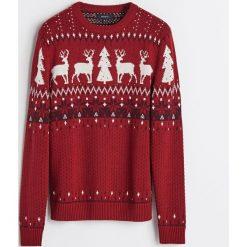Sweter ze świątecznym motywem - Bordowy. Czerwone swetry przez głowę męskie Reserved. Za 119.99 zł.