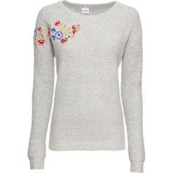 Sweter z haftem, długi rękaw bonprix jasnoszary melanż. Swetry damskie marki KALENJI. Za 99.99 zł.