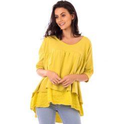 Koszulka w kolorze żółtym. Bluzki damskie fille de Coton, z bawełny, klasyczne, z falbankami, z krótkim rękawem. W wyprzedaży za 86.95 zł.