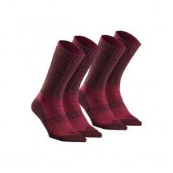 Skarpety turystyczne SH500 ultra-warm mid. Czerwone skarpety męskie QUECHUA, z elastanu. Za 49.99 zł.