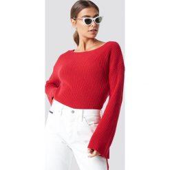 NA-KD Krótki sweter z dzianiny z długim rękawem - Red. Czerwone swetry damskie NA-KD, z dzianiny. Za 121.95 zł.