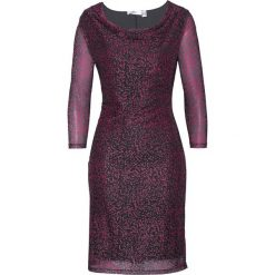 Sukienka siatkowa z nadrukiem bonprix czarno-różowy z nadrukiem. Czarne sukienki damskie bonprix, z nadrukiem, z dekoltem woda. Za 109.99 zł.