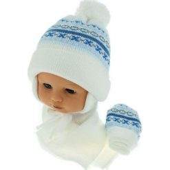 Czapka niemowlęca z szalikiem i rękawiczkami CZ+S+R 013C biała. Czapki dla dzieci marki Pulp. Za 45.90 zł.