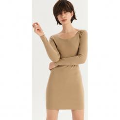 Bawełniana sukienka basic - Kremowy. Białe sukienki damskie Sinsay, z bawełny. Za 39.99 zł.