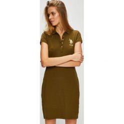 U.S. Polo - Sukienka. Brązowe sukienki damskie U.S. Polo, z bawełny, casualowe, polo, z krótkim rękawem. W wyprzedaży za 199.90 zł.