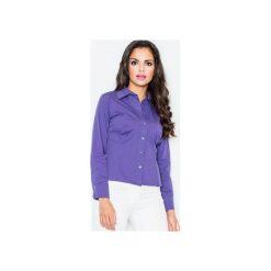 Koszula M021 Indygo. Niebieskie koszule damskie Figl, z bawełny, klasyczne, z klasycznym kołnierzykiem, z długim rękawem. Za 73.00 zł.