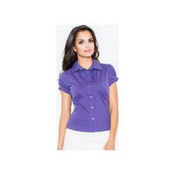 Koszula M026 Indygo. Niebieskie koszule damskie Figl, z bawełny, klasyczne, z klasycznym kołnierzykiem, z krótkim rękawem. Za 73.00 zł.