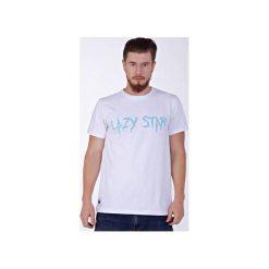 Lazy Star White T-shirt. Białe t-shirty męskie Kingsize, z nadrukiem, z zamszu. Za 69.00 zł.