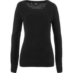 Sweter w strukturalny wzór bonprix czarny. Swetry damskie marki bonprix. Za 59.99 zł.