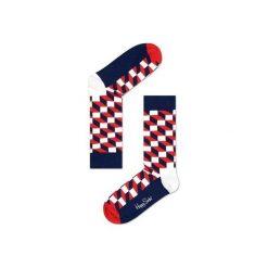 Skarpetki Happy Socks - Filled Optic (FO01-068). Szare skarpety męskie Happy Socks, w kolorowe wzory, z bawełny. Za 34.90 zł.