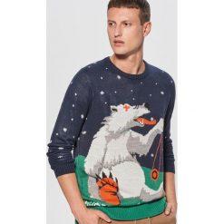 Świąteczny sweter waiting for snow - Granatowy. Niebieskie swetry przez głowę męskie Cropp. Za 99.99 zł.