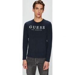 Guess Jeans - Longsleeve. Czarne bluzki z długim rękawem męskie Guess Jeans, z aplikacjami, z bawełny, z okrągłym kołnierzem. Za 159.90 zł.
