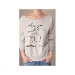 Are you kittin me szara bluza oversize z. Szare bluzy damskie One mug a day, z nadrukiem, z bawełny. Za 129.00 zł.