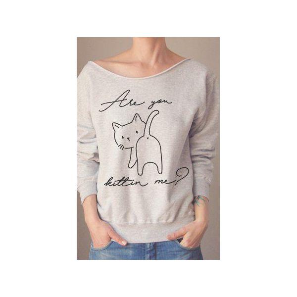 5b05b11f3bcdb4 Are you kittin me szara bluza oversize z - Bluzy damskie marki One ...