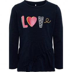 """Koszulka """"Ratext"""" w kolorze granatowym. Niebieskie bluzki dla dziewczynek Name it Kids, z aplikacjami, z bawełny, z okrągłym kołnierzem, z długim rękawem. W wyprzedaży za 42.95 zł."""