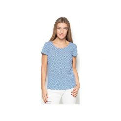 Bluzka K411 Wzór 38. Szare bluzki damskie Katrus, w geometryczne wzory, z tkaniny, z krótkim rękawem. Za 119.00 zł.