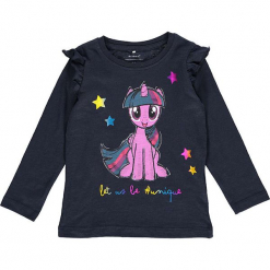 """Koszulka """"Rosita"""" w kolorze granatowym. Niebieskie bluzki dla dziewczynek Name it Kids, z nadrukiem, z bawełny, z falbankami, z długim rękawem. W wyprzedaży za 42.95 zł."""