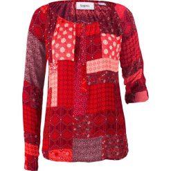 Tunika kreszowana, długi rękaw bonprix jeżynowo-czerwony wzorzysty. Czerwone tuniki damskie bonprix, z nadrukiem, z długim rękawem. Za 89.99 zł.