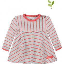 Koszulka w kolorze biało-jasnoróżowym. Białe bluzki dla dziewczynek bellybutton, w paski, z bawełny, z okrągłym kołnierzem. W wyprzedaży za 49.95 zł.