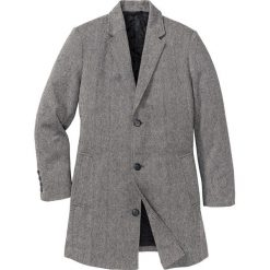 Płaszcz z materiału w optyce wełny Regular Fit bonprix czarno-biały melanż. Szare płaszcze męskie bonprix, melanż, z wełny. Za 239.99 zł.